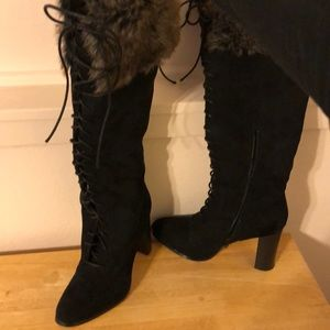 Tall black heeled boots with fur 8.5